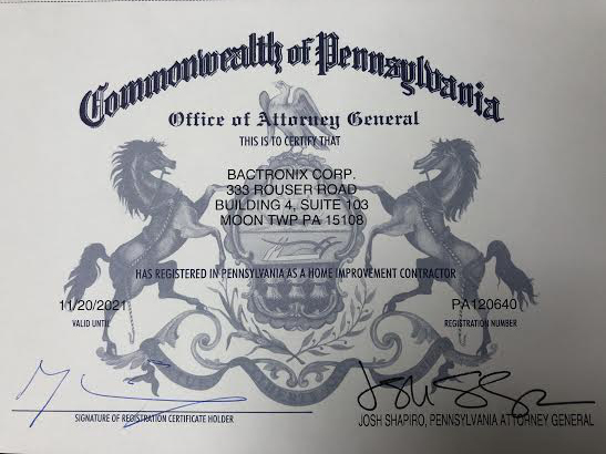 Pennsylvania Home Improvement Contractor certificate of mold removal services provider Bactronix, which services Pittsburgh, PA